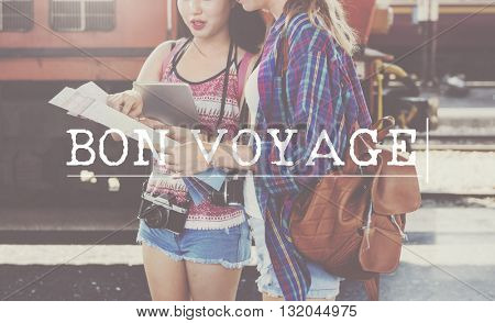 Bon Voyage Backpacking Travel Destination Journey Concept