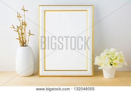 Frame mockup with white flowerpot. White frame mockup.