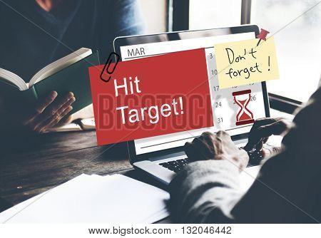 Hit Target Schedule Organizer Plan Concept