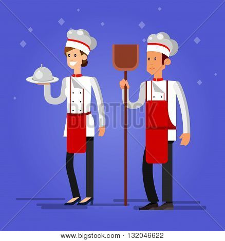 Vector detailed characters woman and man professional chef, Cook baker, flat design vector illustration