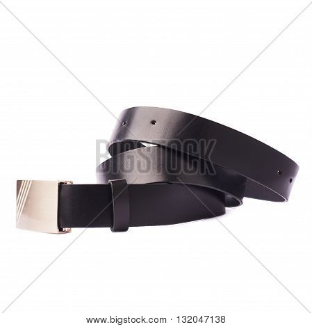 Leather black belt isolated over the white background