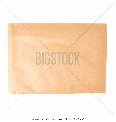 Brown paper envelope isolated over white background
