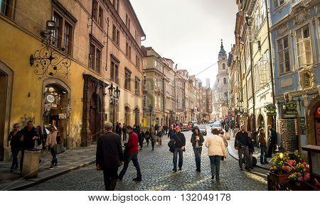 Prague Czech republic - April 22 2015 - Busy city center of Prague on a warm sunny afternoon. Prague is the capital city of the Czech republic and a popular tourist destination.