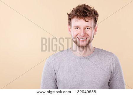 Blonde Smiling Man Portrait.