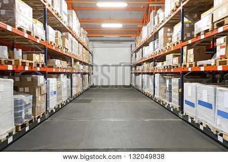 Rows of Pallet Racking Systems in Distribution Warehouse