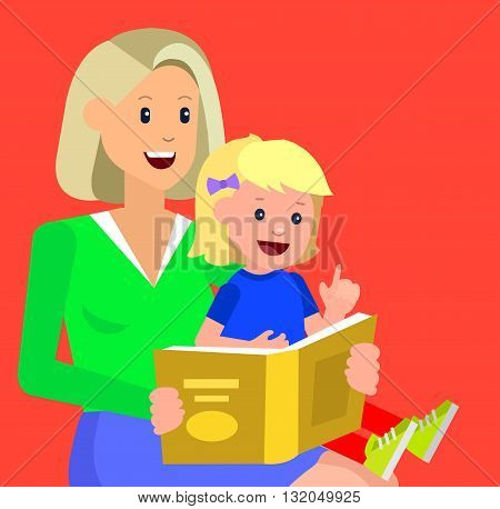 Cute vector character child with mother reading book. Education and child development. Banner for the kindergarten or children club, school of Arts