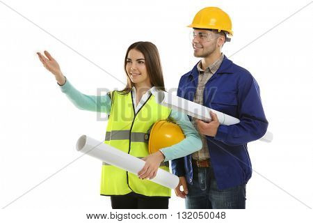 Man and woman in uniform with engineering blueprints isolated on white