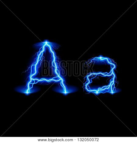 Uppercase and lowercase letters A in lighting style