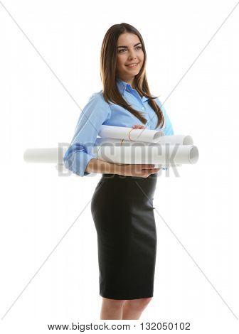 Woman holding engineering blueprints isolated on white