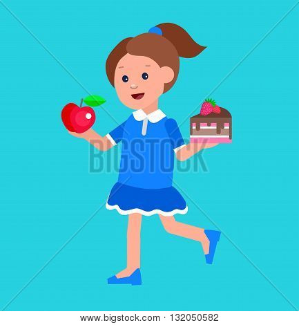 Cute vector character child and healthy food. Child with vegetables, kid girl chooses between apple and cake. Happy kid illustration. Detailed character child. Vector fun child.