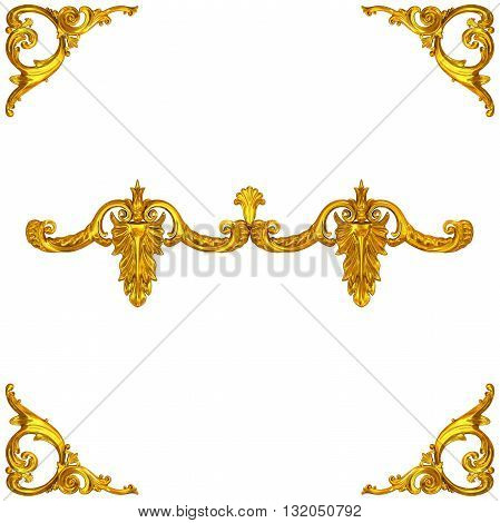 3d illustration of golden ornaments on a white background
