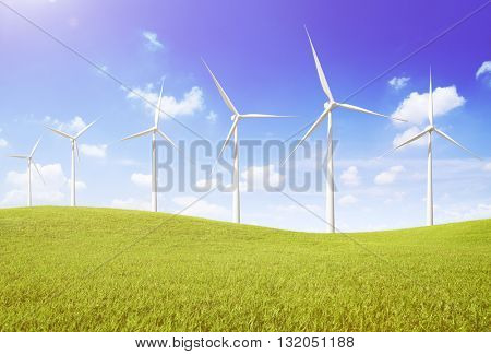 Windmill Turbine Fuel and Power Generation Sustainable Concept