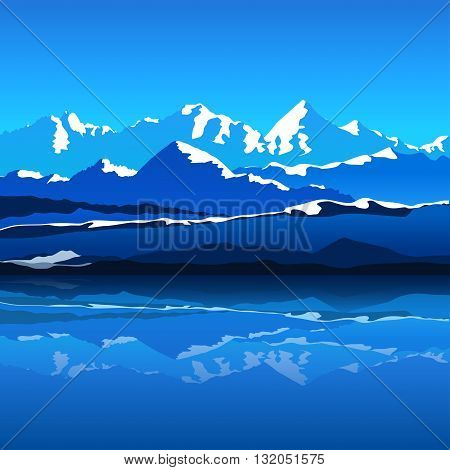 illustration of high mountains covered edges by snow and lake