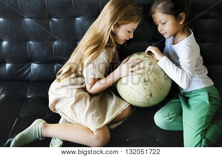 Girl Sister Learning Geography Knowledge Concept