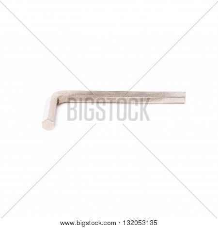Hex metal allen L key over white isolated background
