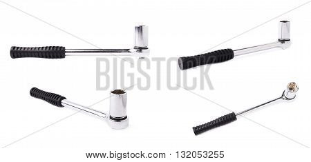 Set of socket metal wrench with black handle over white isolated background, different foreshortenings