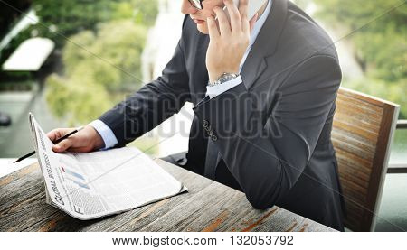 Business Man Working Talking Phone Concept