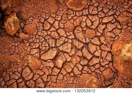 Cracked dry earth surface - abstract background