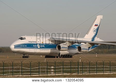BUDAPEST, HUNGARY - OCTOBER 05, 2013: Antonov An-124 cargo plane at Budapest Airport (LHBP). The An-124 is one of largest aircrafts in the world for transporting heavy cargo
