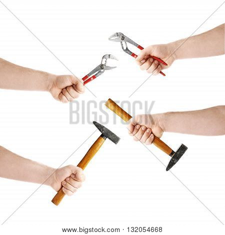 Set of worker's caucasian male hand holding a working tool, composition isolated over the white background