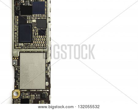 Smart phone circuit board isolate on white background with clipping path, Copy Space
