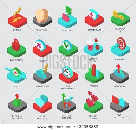 Isometric icons set business elements, clients solution. Premium quality business symbol collection. Business icon. Infographic business icon. Vector logo business process. Business collection concept