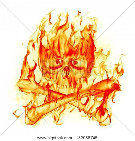 Fire skull. 3D illustration.