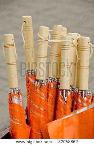 Courtesy Orange Umbrellas In A Bucket In Redmond Town Center