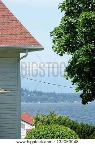 Looking At Puget Sound Near Alki Lighthouse