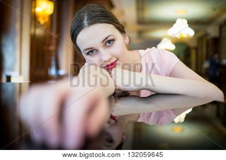 Beautiful attractive woman in evening dress for luxury, vip, nightlife and party concept