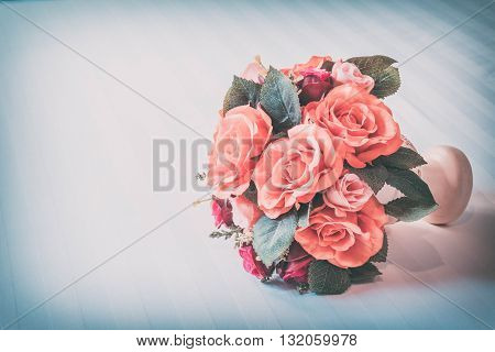 Pastel Coloured Artificial Pink Rose Wedding Bridal Bouquet Vintage style.