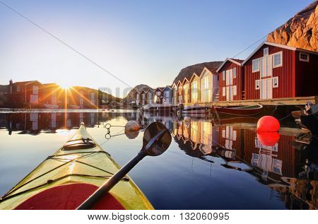 Wooden fishing huts  Sweden, Scandinavia