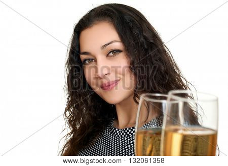girl clinking glasses with wine and toasting, beauty portrait, black and white checkered dress, long curly hair, glamour concept, isolated on white background