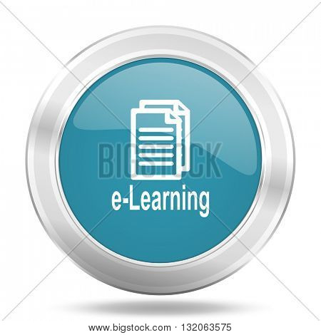 learning icon, blue round metallic glossy button, web and mobile app design illustration