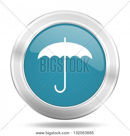 umbrella icon, blue round metallic glossy button, web and mobile app design illustration