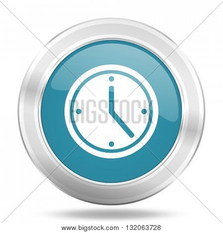 time icon, blue round metallic glossy button, web and mobile app design illustration
