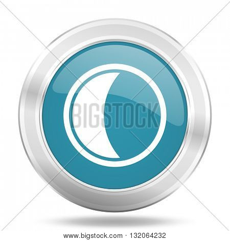 moon icon, blue round metallic glossy button, web and mobile app design illustration