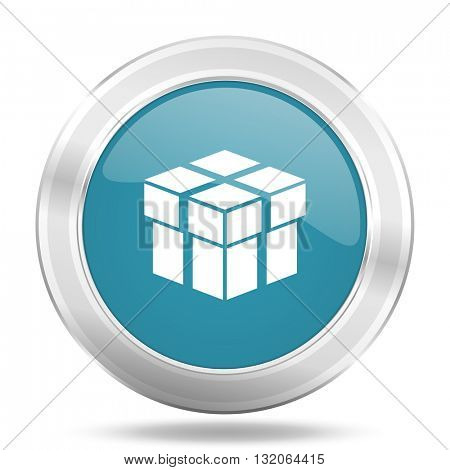 box icon, blue round metallic glossy button, web and mobile app design illustration