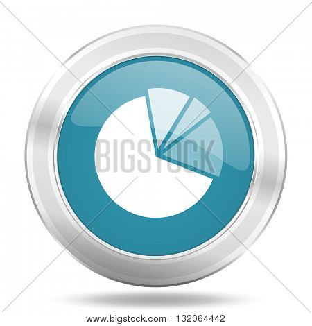 diagram icon, blue round metallic glossy button, web and mobile app design illustration
