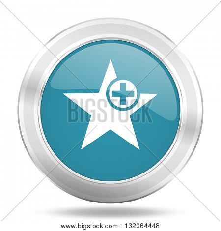 star icon, blue round metallic glossy button, web and mobile app design illustration