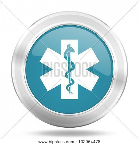 emergency icon, blue round metallic glossy button, web and mobile app design illustration