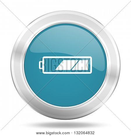 battery icon, blue round metallic glossy button, web and mobile app design illustration