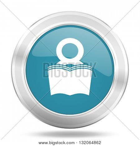 book icon, blue round metallic glossy button, web and mobile app design illustration