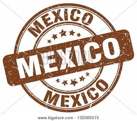 Mexico brown grunge round vintage rubber stamp.Mexico stamp.Mexico round stamp.Mexico grunge stamp.Mexico.Mexico vintage stamp.