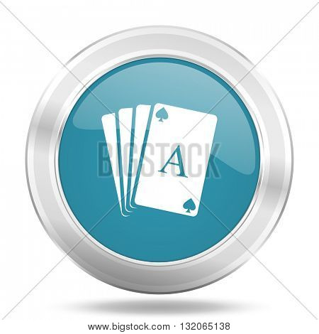 card icon, blue round metallic glossy button, web and mobile app design illustration
