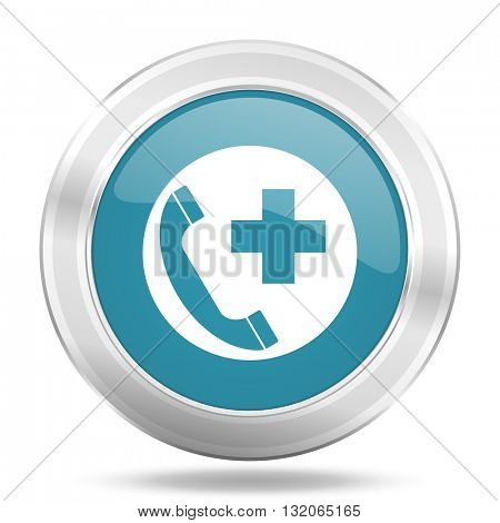 emergency call icon, blue round metallic glossy button, web and mobile app design illustration