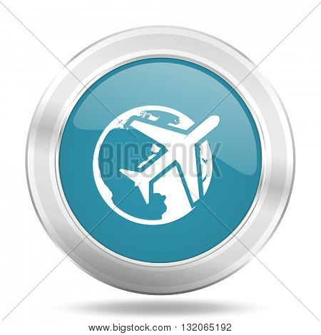 travel icon, blue round metallic glossy button, web and mobile app design illustration