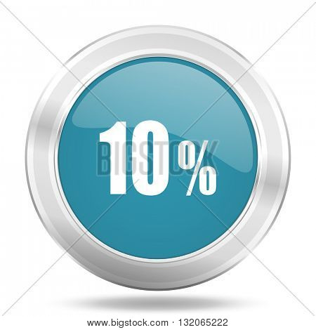 10 percent icon, blue round metallic glossy button, web and mobile app design illustration