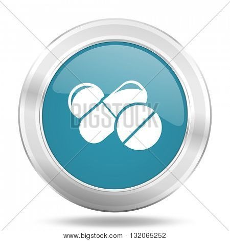 medicine icon, blue round metallic glossy button, web and mobile app design illustration
