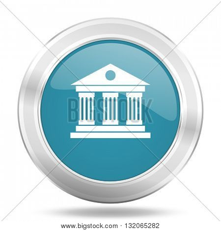 museum icon, blue round metallic glossy button, web and mobile app design illustration